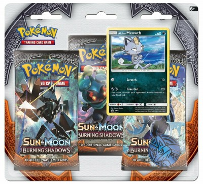 Sun & Moon Burning Shadows 3-pack blister Alolan Meowth