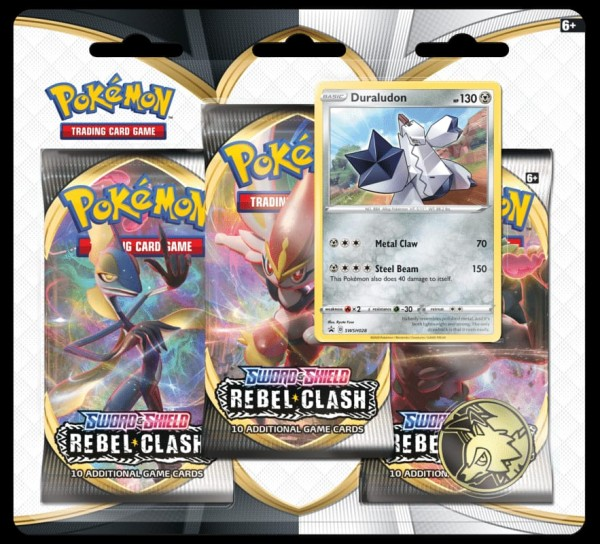Sword & Shield Rebel Clash 3-Booster Blister - Duraludon