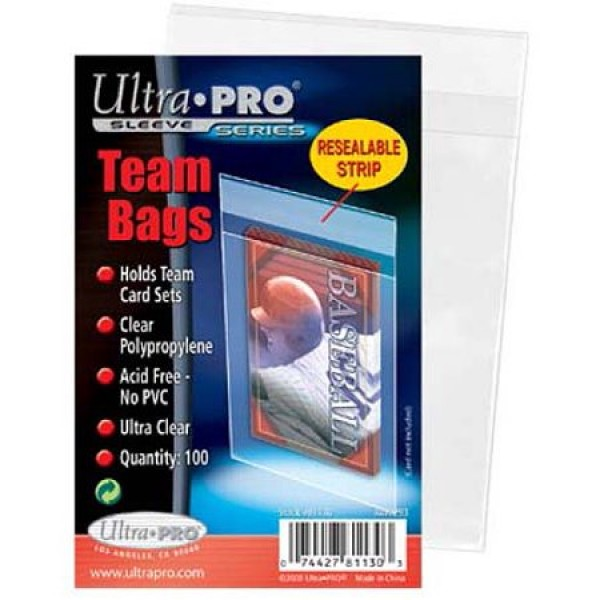 Card Sleeves Team Bags Resealable - 100 pcs